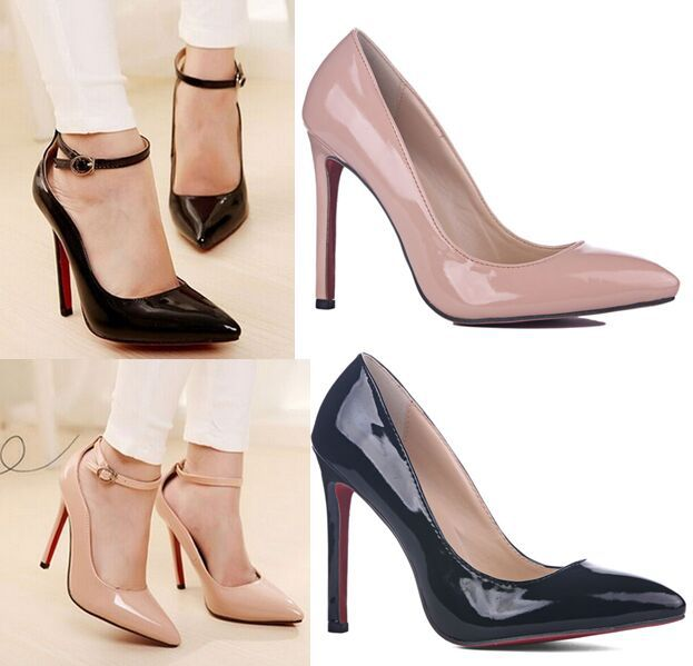 Four season women pumps ultra high heels pointed toe red sole nude color pumps shoes for women thin heels pumps women high heels(China (Mainland))