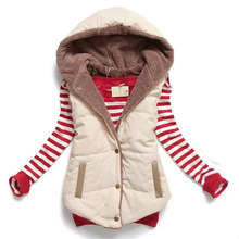 Hot Sale Ladies Winter Coat Waistcoat 2016 Fashion Women Hooded Thicken Warm Down Cotton Vest Plus Size M~XXXL woman coat SS232