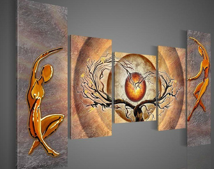 hand-painted wall art Orange trees dancing home decoration abstract Landscape oil painting canvas 5pcs