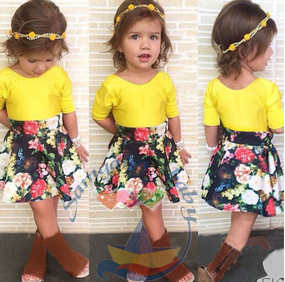 summer girl set clothes 2015 floral cute cotton t-shirt+skirt sets for girls children child kids cheap clothing store(China (Mainland))
