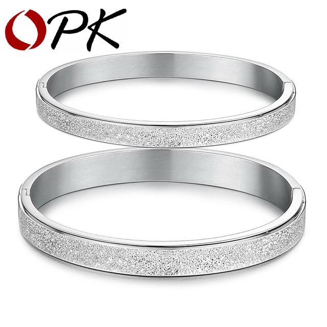 OPK JEWELRY Free Shipping Stainless steel bangle wristband COOL MEN couple forever love dull polish bracelets jewellery 8mm 866