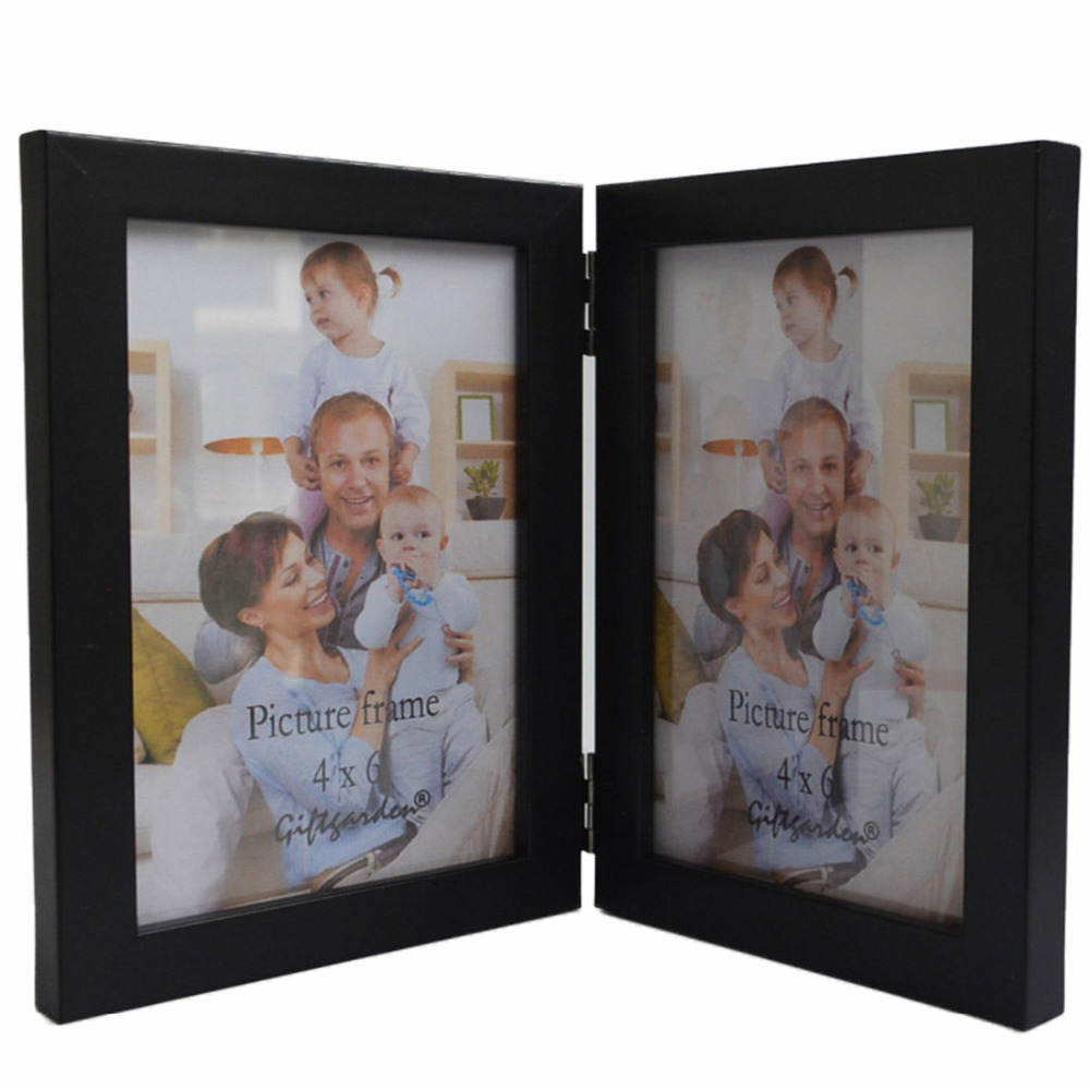 Giftgarden 4 by 6 Inch Hinged Double Picture Frame, Black(China (Mainland))