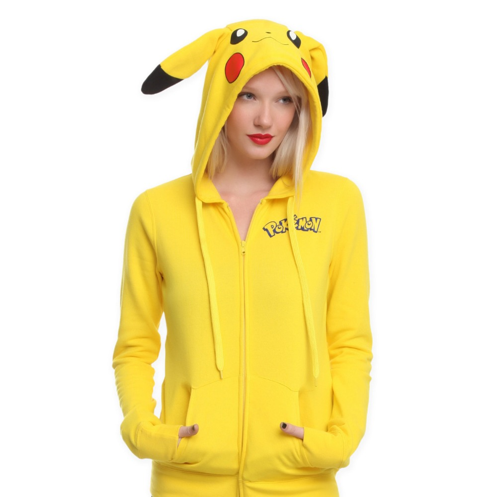 Anime Animal Women Cute Pokemon Pikachu Hooded Jacket ...