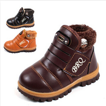 NEW 2015 Fashion Children Martin boots Plus Plush Boys Girls shoes Flats Kids PU leather Ankle boots Winter Snow boots 1.5/1(China (Mainland))