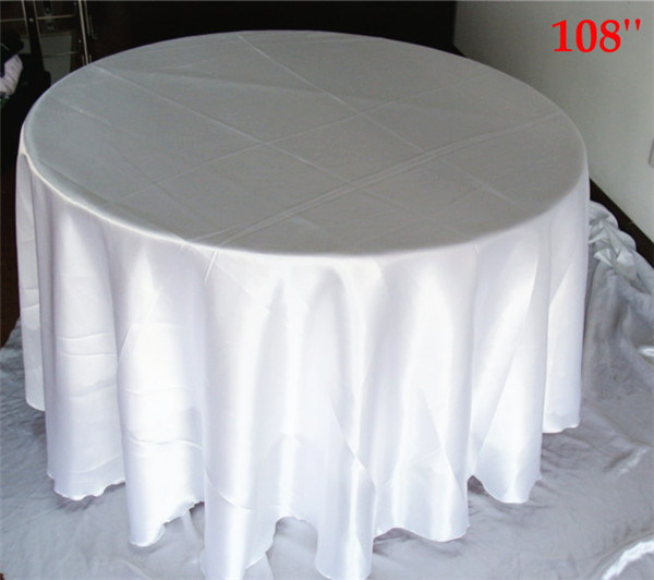 10pcs white 108'' round New Hot Sale Christmas Embroidery Satin Tablecloth Full Embroidered Xmas Table Linen(China (Mainland))