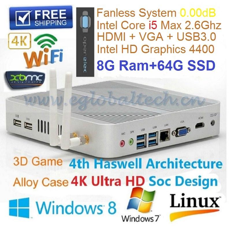 EGLOBAL Mini Computer Desktop Intel Nuc Core I5 4200U 8GB RAM 64GB SSD Fanless Small hosting 4*USB 3.0 HDMI+VGA Wifi Customized(China (Mainland))