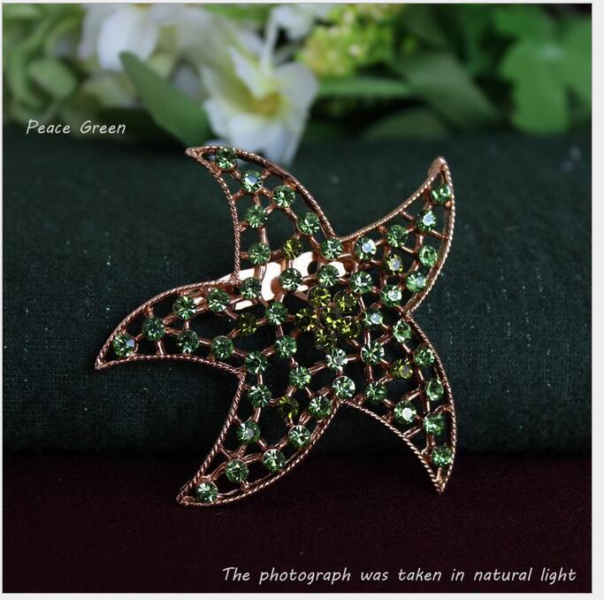 Korea five-pointed star cz diamond brooch fit Scarf clips Coat dress& Handbag Decorations mixed 7 color(China (Mainland))
