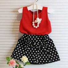 Mar 10 Amazing Girls Vest Pleated Two Pieces Set Clothes Children Set Skirt Suit(China (Mainland))