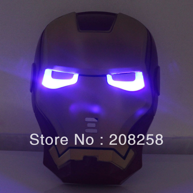 iron man Mask LED masquerade party Halloween carnival Mask CartoonThe Avengers Hero Toy,glowing with led light PP 5pcs/lot