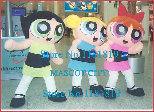 3pcs GREEYN BLUE PINK The Powerpuff Girls Mascot Costume Adult Cartoon Theme Mascotte Anime Cosplay Costumes Fancy Dress Kit(China (Mainland))