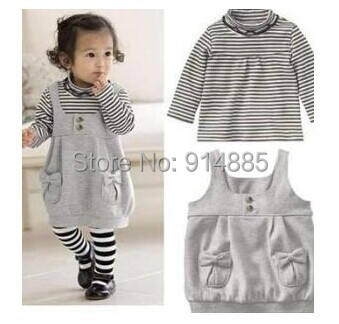 Freeshipping Autumn Outwear Baby Girl Long Sleeves T-Shirt +Dress+ Stockings Toddler Set Dress Suit 12-24M Clothing Gift(China (Mainland))