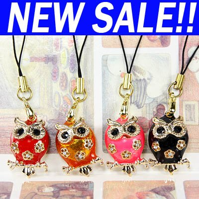 Mix Owl rhinestones Mobile phone Charms straps jewelry pendant eagle mbc-b06(China (Mainland))