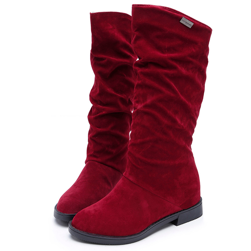 Hot hot sale Fashion Autumn Winter Boots Women Sweet Boot Stylish Flat Flock Shoes Snow Boots 2017 Autumn And Winter Women Boots(China (Mainland))