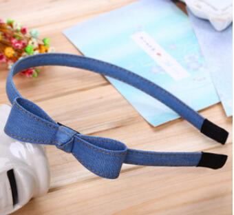 Fashion Retro Style Bowknot Hairbands Handmade Denim Leisure Headbands Girls Women Hair Accessories(China (Mainland))