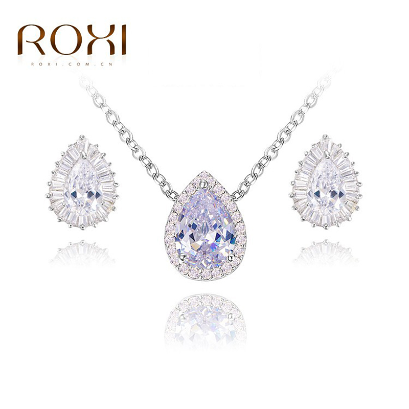 ROXI Christmas Gift Fashion Crytal Tears Set Gift Girlfriend 100% Hand made Fashion Jewelry Earrings+Necklace Big OFF