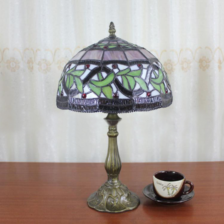 Hot Selling 12 Inch Tiffany Table Lamp Size H48cm W30cm Stained Art Glass Leaves Desk Lamp Bedside Lighting(China (Mainland))