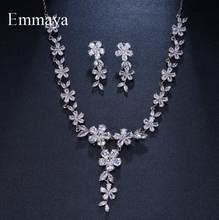 Emmaya Braut Schmuck Sets Anlage Schmuck Mit Zirkon Set Ohrringe Anhänger Halsketten Geschenk Party für Frau Schmuck Geschenk(China)