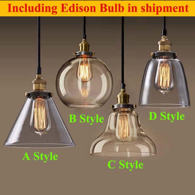 Retro Vintage Pendant Lights Clear Glass Lamshade Loft Pendant Lamps E27 110V 220V for Dinning Room Home Dcoration Lighting<br><br>Aliexpress