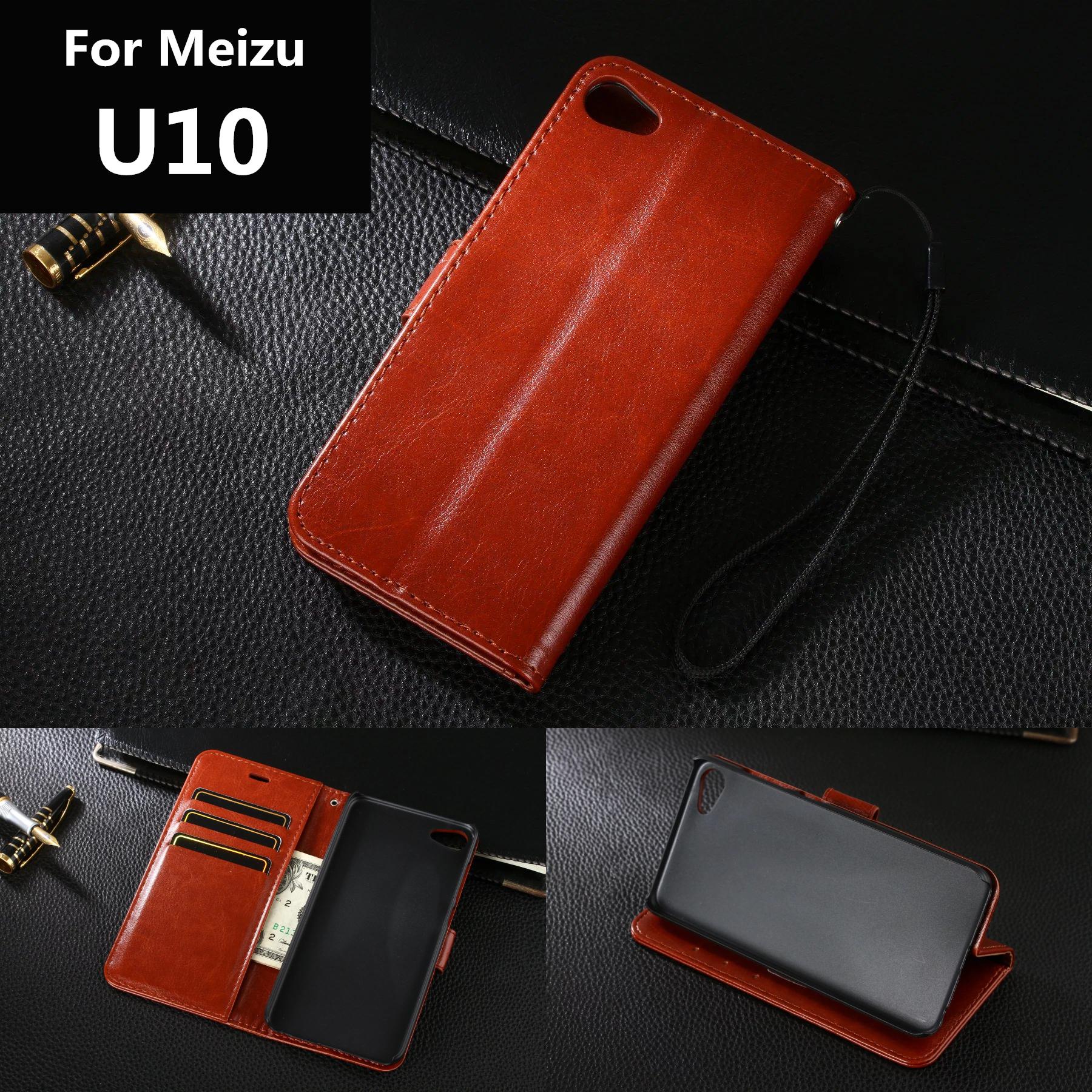 Meizu U10 card holder cover case for Meizu U10 leather phone case ultra thin wallet flip cover(China (Mainland))
