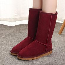Úc nữ Phong Cách Ủng chống nước Chính Hãng Da Bò mùa đông giày ấm Giày bốt nữ Đầu Gối-Giày cao Cổ nữ giày(China)