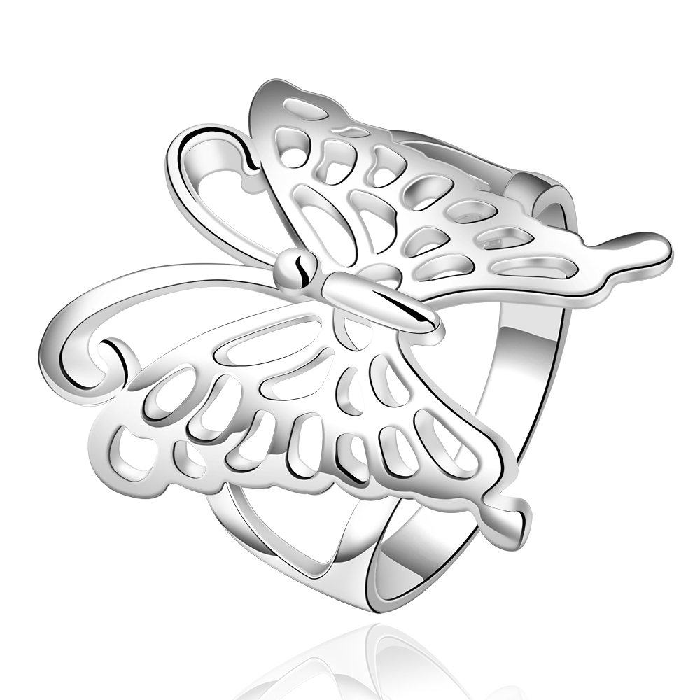 2016 New Fashion Silver-Plated Anime Jewelry Exquisite Butterfly Wedding Band Nice Accessories Finger Rings for Women(China (Mainland))