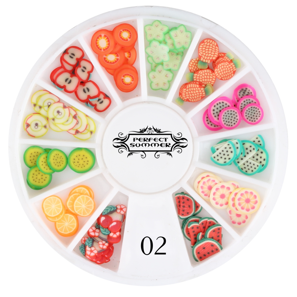 Candy Lover 3D Polymer Clay Tiny Fimo Fruit slices Wheel Nail Art DIY Designs Wheel Nail Art Decorations Wholesale(China (Mainland))