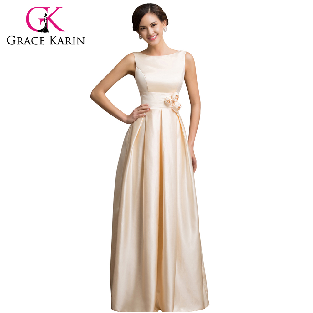 Grace Karin Long Evening Dress New Sleeveless Satin Apricot Gowns Formal Party Dresses Vestido De Festa Longo 2016 - Collection store