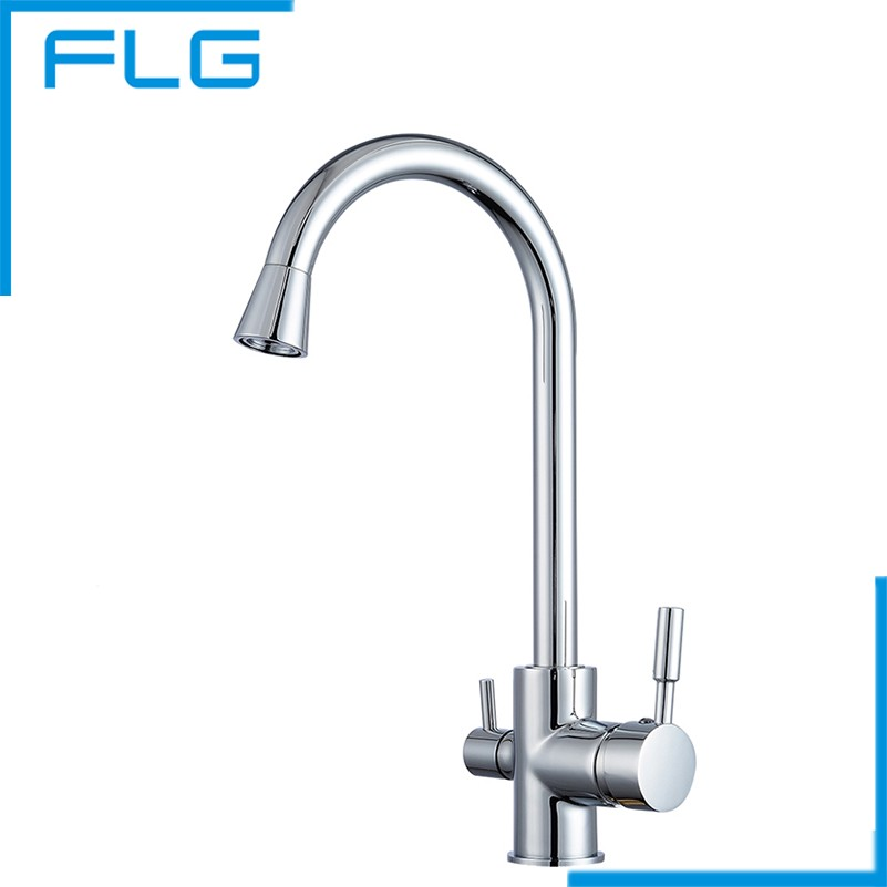 polished chrome brass 3 way 360 swivel kitchen sink faucet mixer tap pure water filter - Kitchen Sink Drink