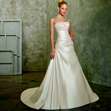 Shot Train Strapless Wedding Dress
