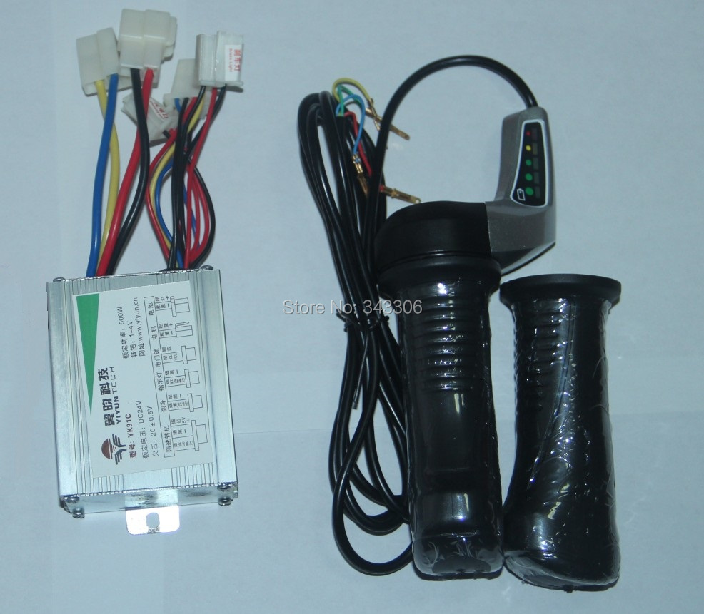 24V 500W Brushed Controller Electric Scooter Throttle Twist Grips Power Display electric bike scooter modified replacment parts(China (Mainland))