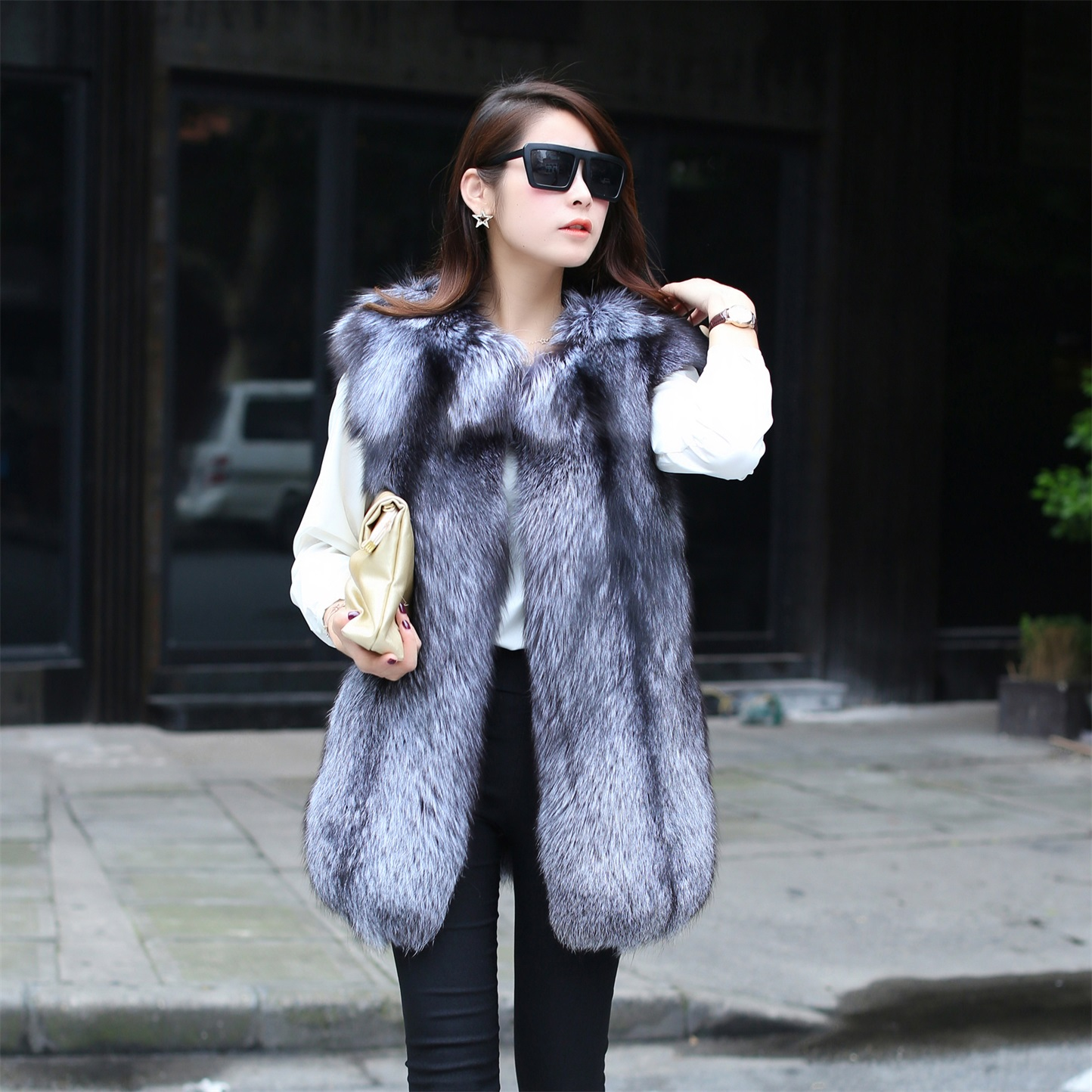The new 2014 lady fur coat imported Silver Blue Fox Fur Vest fur high-end customized specialОдежда и ак�е��уары<br><br><br>Aliexpress