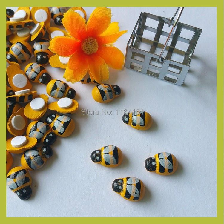 Wholesale150pcs/lot Cute Honey Bee 8*13mm wood Flatback Scrapbooking Frame Making Craft and Scrapbooking DIY 3D wall stickers(China (Mainland))