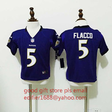 100% stitched baby Baltimore Ravens toddler 5 Joe Flacco 52 Ray Lewis Embroidery Logos size S TO L(China (Mainland))