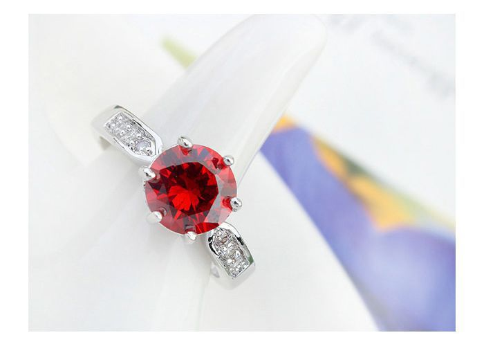 Simulated oval big ruby rings for women 6 Claws ring White classic Cubic Zirconia diamond Engagement
