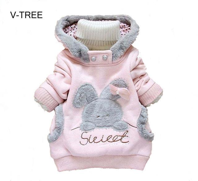 Детская одежда Зима новый детский хлопок Детский мультфильм куртка с капюшоном Детей свитер для девочек