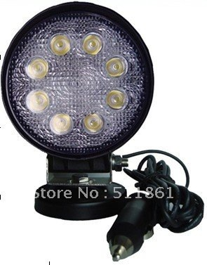 24W LED Working lamp Round 10V-30V  for vehicles,Fog light kit, Off-road LED working Light  for Mining,truck,Free Shipping