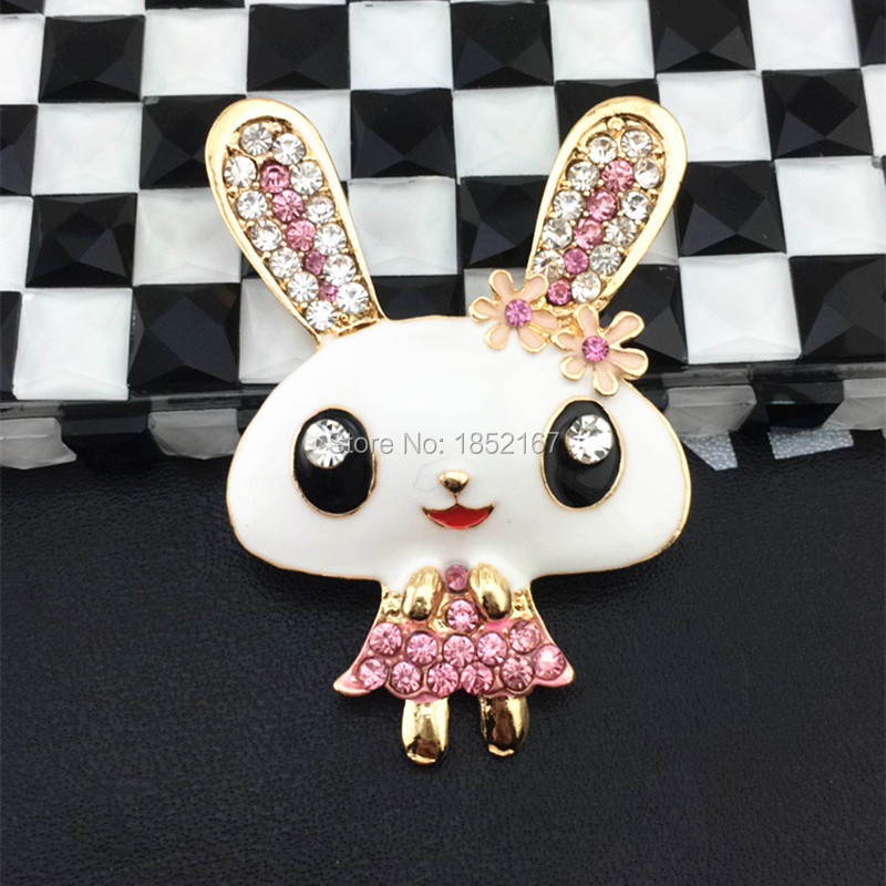 Alloy Flat Back Rabbit DIY Phone Case Stickers 3D Rhinestone Cell Phone Case Decoration Stickers For iPhone Case Luxury Brand CC(China (Mainland))