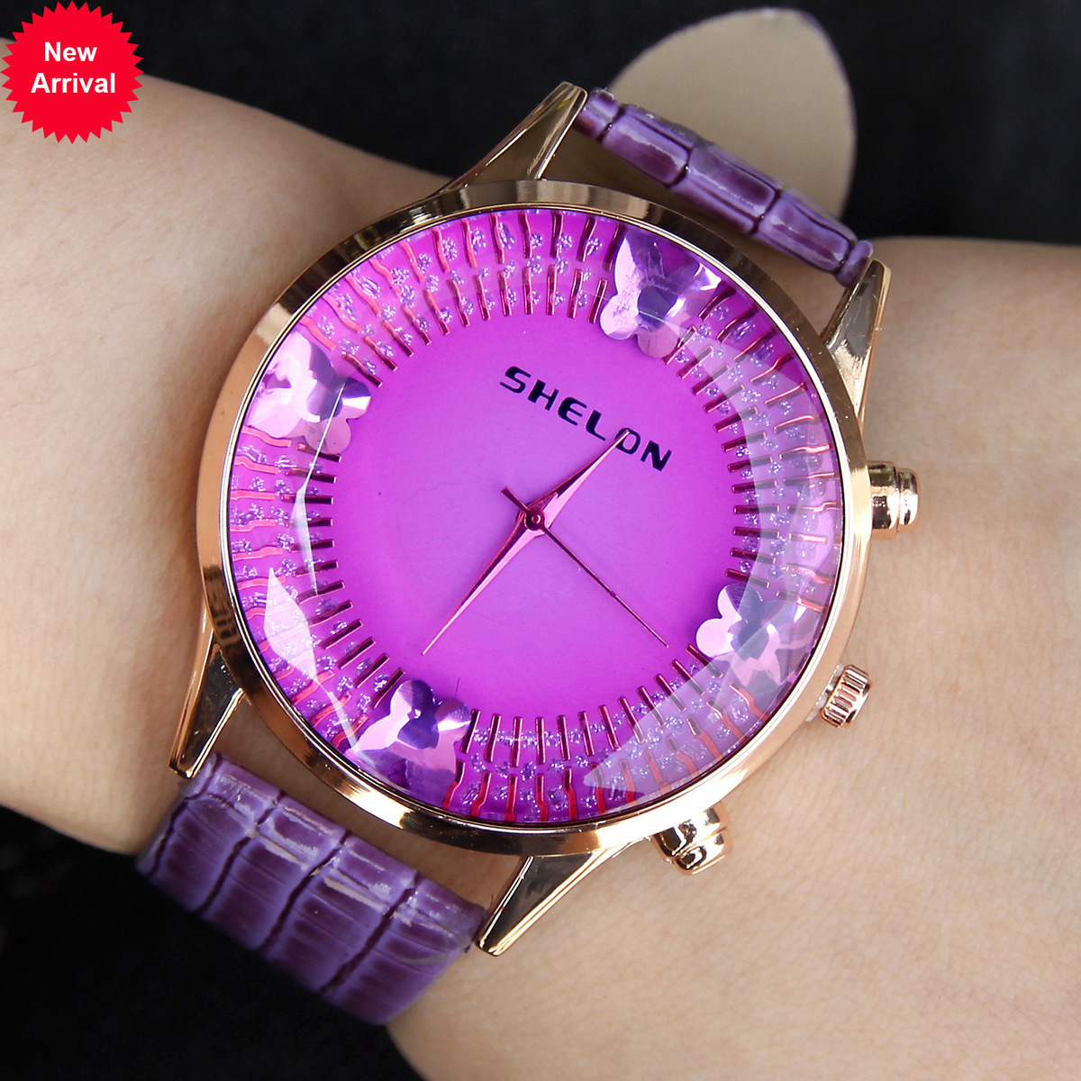 High Quality Lexury GiftFashion Crystal Butterfly Market Wrist Watch Student Wrist-watches Generation Hair(China (Mainland))