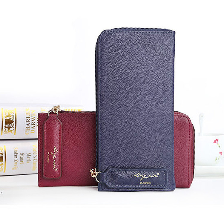 Brand marketing LINGXIN Korean minimalist lady zipper pull card long wallet iPhone 6 mobile phone.(China (Mainland))