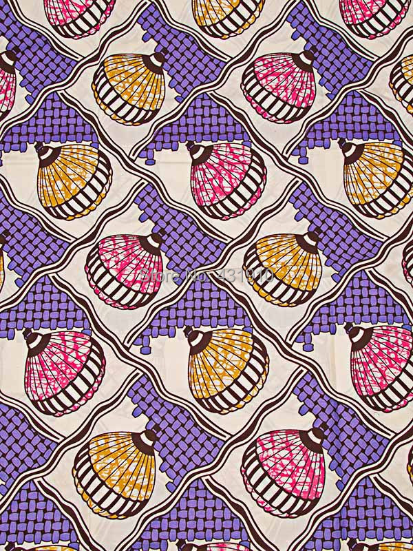 Wholesale African Cotton Fabric Super Deluxe Wax Fire Balloon Lilac sw3306113(China (Mainland))