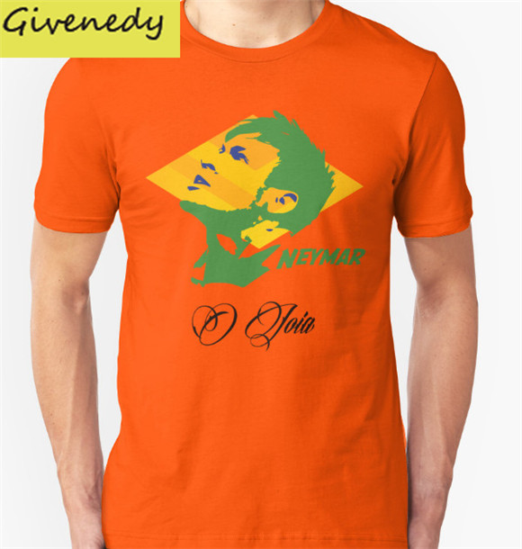 BRAZIL NEYMAR JR. WC 14 FOOTBALL T-SHIRT men super star cotton short sleeve O-neck t shirt 2016 new fashion design men t shirt(China (Mainland))