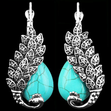 Vintage Look Antique Silver Plated Delicate Turquoise Malachite Peacock Clip On Drop Earrings TE64(China (Mainland))