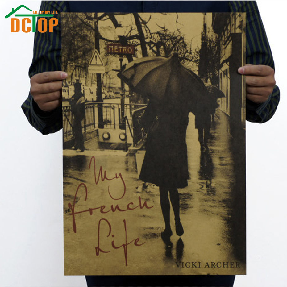 DCTOP My French Life Kraft Paper Poster Wall Decor Stickers A Girl Under The Umbrella Wall Decals Art Murals Bedroom(China (Mainland))