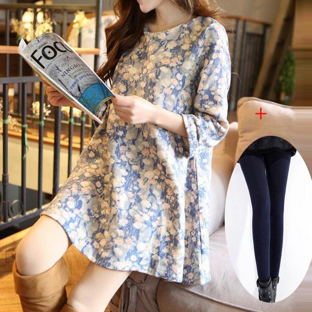 Одежда для беременных осень и зима цельный платье цветочный принт платье беременным ...