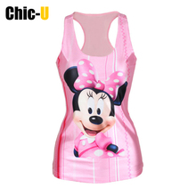 New Pink Catoon Mouse Fashion Print Summer Trendy Sexy Vest Women Colorful Girls Tank Tops Cheap Clothes China(China (Mainland))