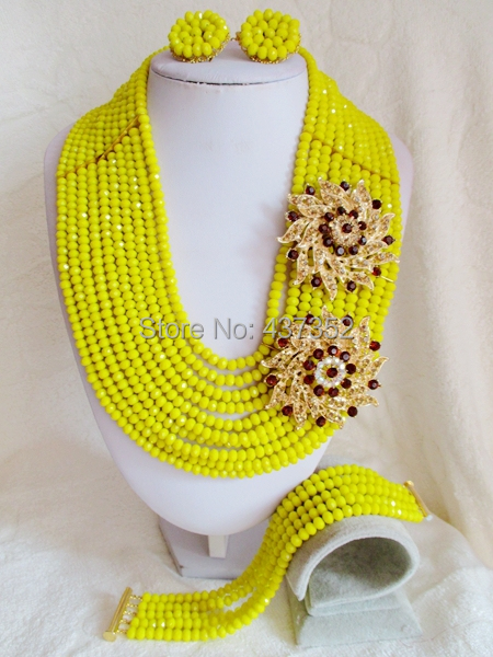 Party Best Choice Opaque Yellow Crystal Nigerian Wedding Beads Necklace Stud Earring African Beads Jewelry Set NC2100<br><br>Aliexpress