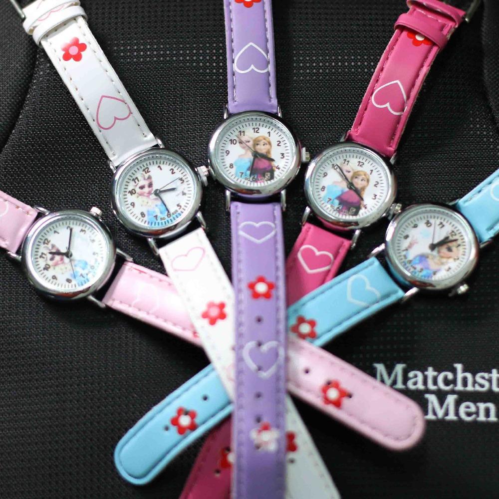 2016 Cartoon Children Brand Watch Princess Elsa Anna Watches Fashion Girl Kids Cute Sports Leather Wristwatch Gift relojes(China (Mainland))