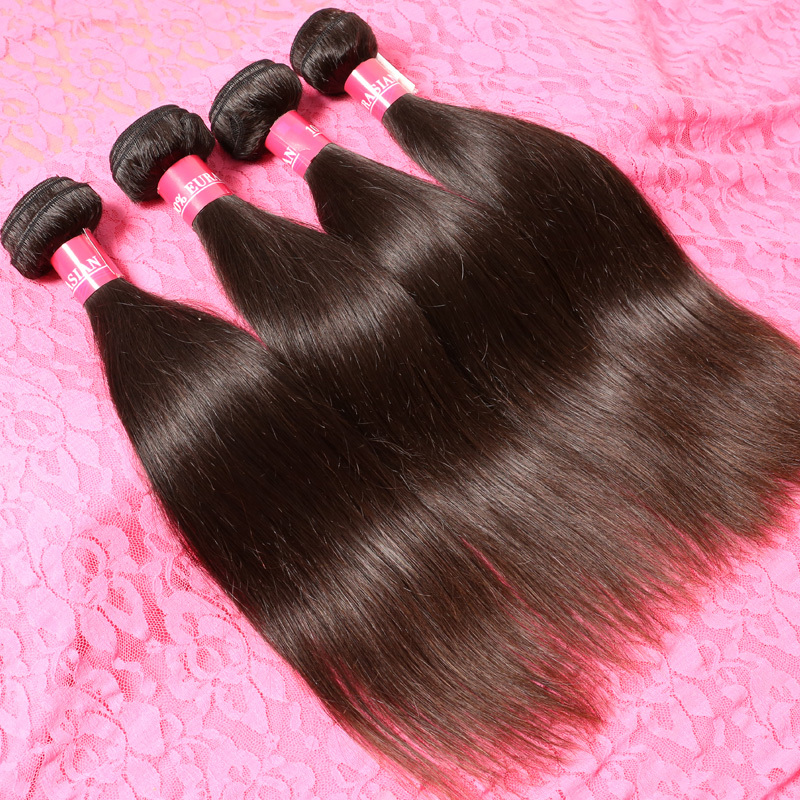 Grade 7A Virgin Hair Unprocessed Eurasian Straight Hair 4Pcs Lot Natural Color Dyeable Remy Hair Weave European Virgin Hair(China (Mainland))