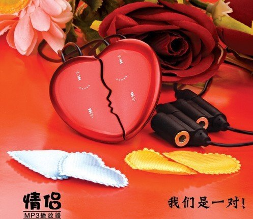 Free shipping-Valentine's Day gift,best Christmas gift heart shape lover MP3 with 2GB memory factory price to public(China (Mainland))