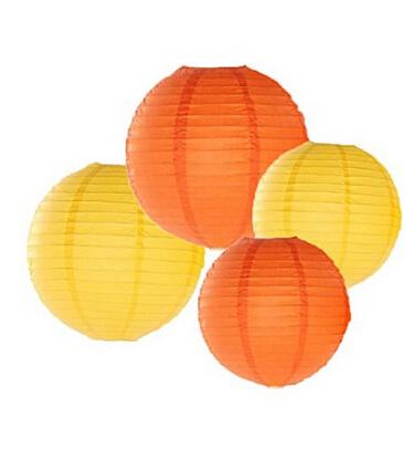 24 Pack Mixed Sizes Yellow Orange Paper Lantern Lampshade Wedding Birthday Party Baby Room Decoration(China (Mainland))